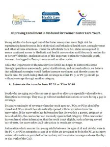 Cover Image: Fact Sheet: Improving Enrollment in Medicaid for Former Foster Care Youth