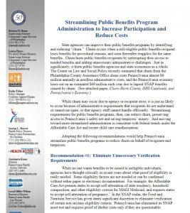 Cover Image: Streamlining PA Public Health Benefits Programs – 2016