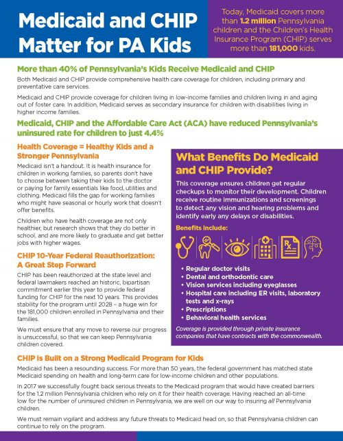 Cover Image: Fact Sheet: Medicaid & CHIP Matter for PA Kids – June 2018