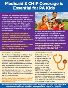 Cover Image: Fact Sheet: Medicaid & CHIP Coverage is Essential for PA Kids – January 2019