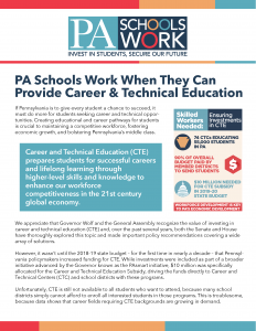 Cover Image: Fact Sheet: PA Schools Work: Career and Technical Education (CTE) – April 2019