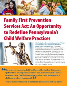 Cover Image: Fact Sheet: Family First Prevention Services Act: An Opportunity to Redefine Pennsylvania's Child Welfare Practices – May 2019