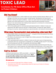Cover Image: Fact Sheet: Toxic Lead: Candidates for PA State Office Must Act to Protect Children – March 2021