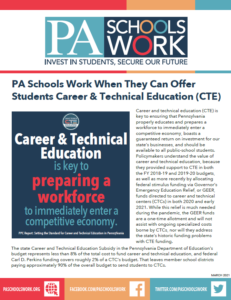 Cover Image: Fact Sheet: PA Schools Work: Career and Technical Education (CTE) – March 2021