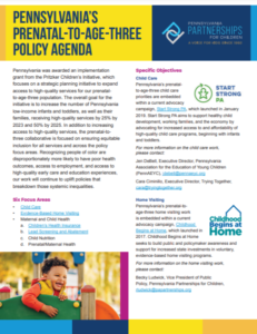 Cover Image: Fact Sheet: Overview of Pennsylvania's Prenatal-to-Age-Three Policy Agenda – March 2021