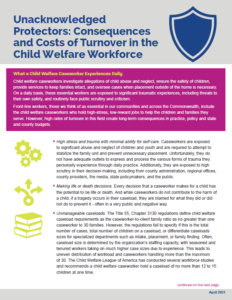 Cover Image: Fact Sheet: Unacknowledged Protectors: Consequences and Costs of Turnover in the Child Welfare Workforce – April 2021