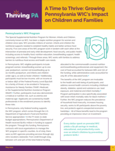 Cover Image: Policy Brief: A Time to Thrive: Growing Pennsylvania WIC's Impact on Children and Families — May 2021