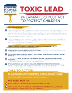 Cover Image: Fact Sheet: Toxic Lead: PA Lawmakers Must Act To Protect Children – July 2021