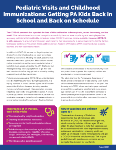 Cover Image: Fact Sheet: Pediatric Visits and Childhood Immunizations: Getting PA Kids Back in School and Back on Schedule – August 2021