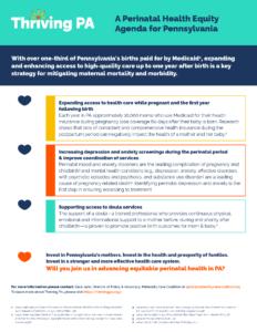 Cover Image: Fact Sheet: A Perinatal Health Equity Agenda for Pennsylvania – September 2021